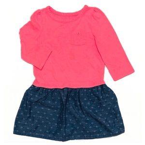 Cherokee Pink/Blue Long Sleeve Dress 5T